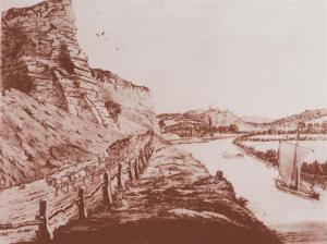 Clive Gwilt 22 - high rock and river sketch (Medium)
