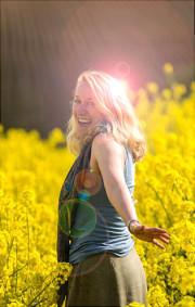 Elibec in a field of oil seed rape flowers