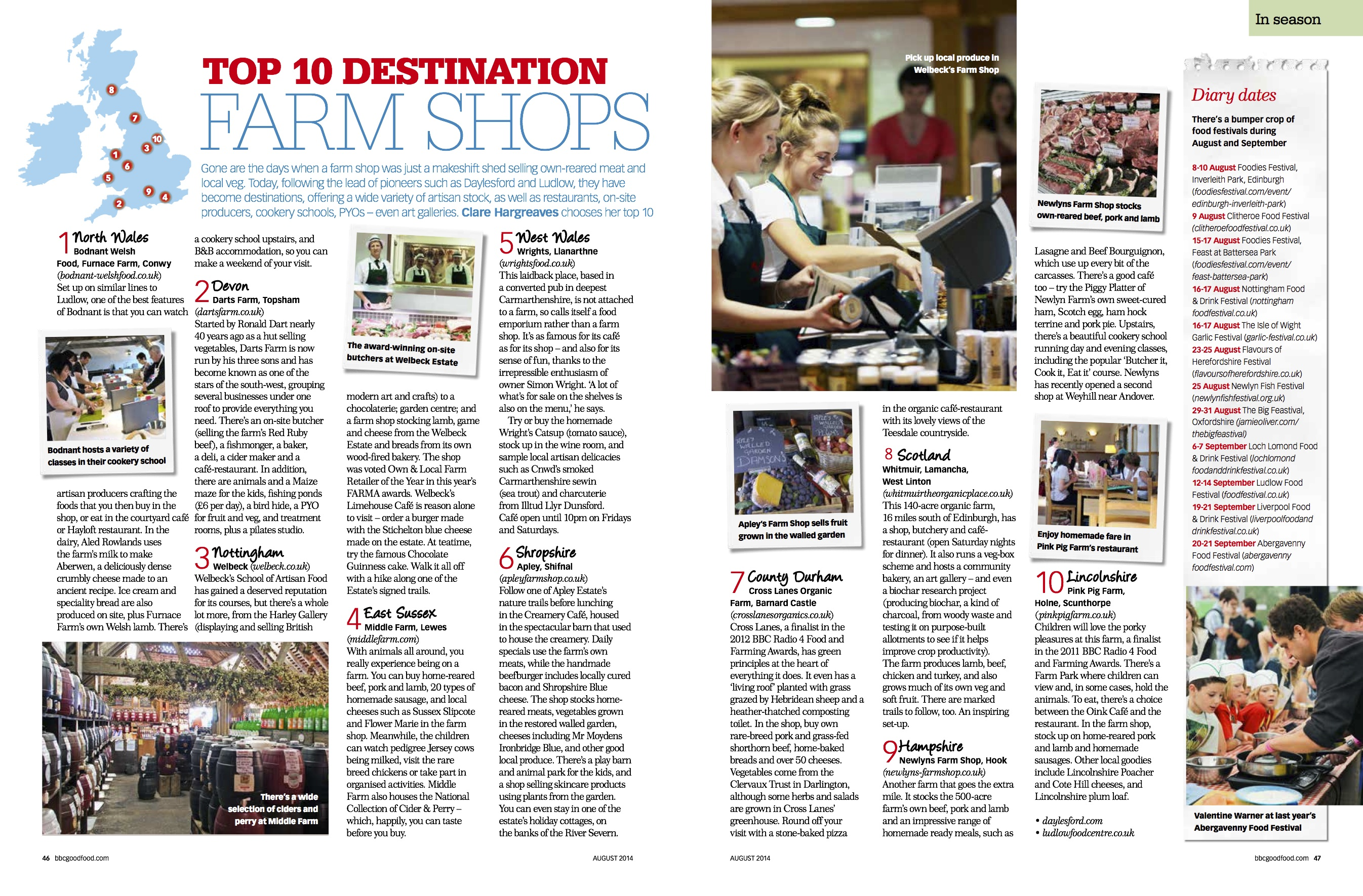 Apley in the bbc good food magazine the uk s top 10 for Article cuisine