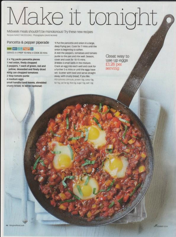 2014-08-11, BBC Good Food Magazine, Pancetta & Pepper Piperade - Bacon, tomato & egg