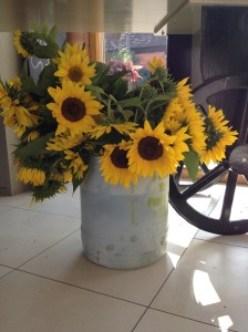 2014-08-14, AFS barrow in Shop 4, Sunflowers a