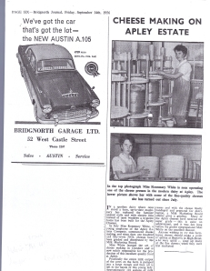 Apley Cheesemaking 1956 newspaper article 2