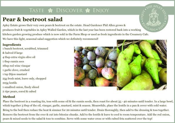 2014-10-09, Apley pear & beetroot salad recipe