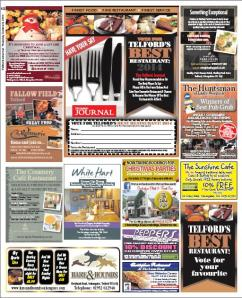 2014-10-09, Telford Journal, Best Restaurant in Telford competition 2014 layout jpeg