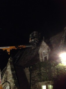 2014-10-27, Jason removing bees nest from Stone Cottage chimney at 10pm