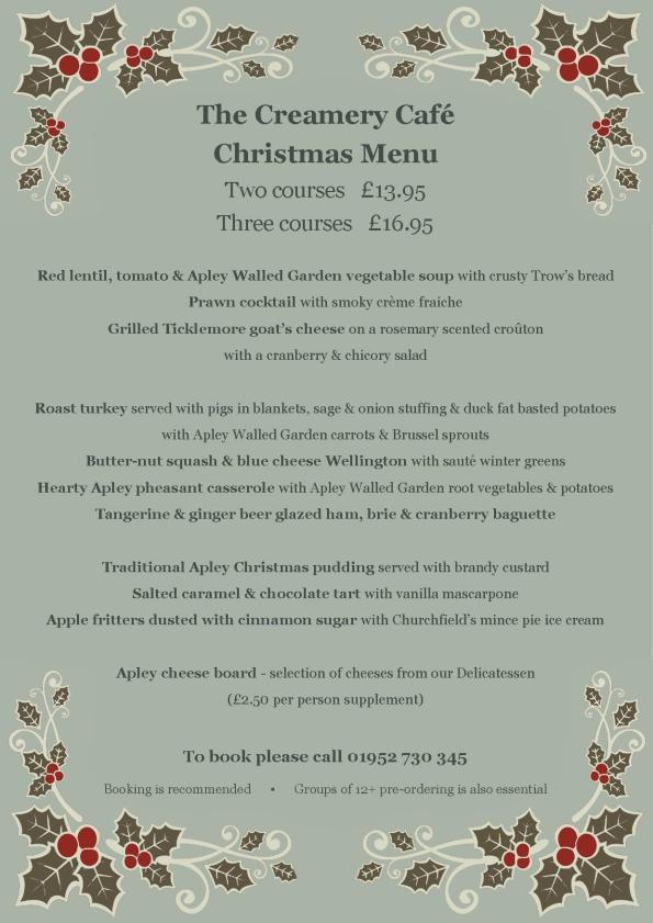 2014-11-08, Creamery Cafe Christmas menu 2014