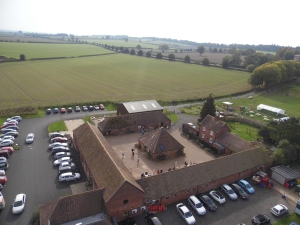 2014-10-12, Aerial photo of Apley Farm Shop from zip wire crane