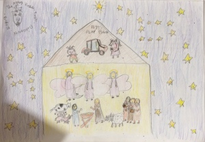 Jesus at Apley's Pigg's Playbarn, by Hannah Insley aged 10