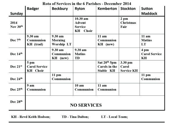 Rota of Services in the 6 Parishes