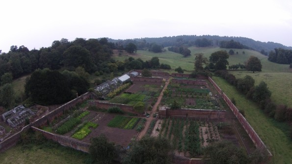 Aerial view of Apley Walled Garden