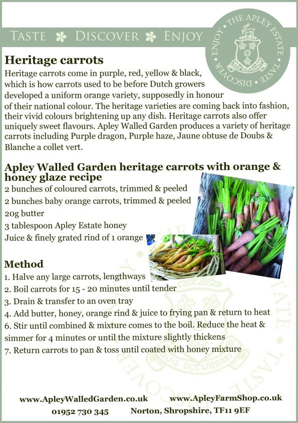 Recipe - Apley Waled Garden heritage carrots with orange & honey glaze
