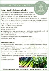 Apley Walled Garden leeks recipe