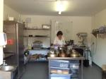 Julie in her new kitchen