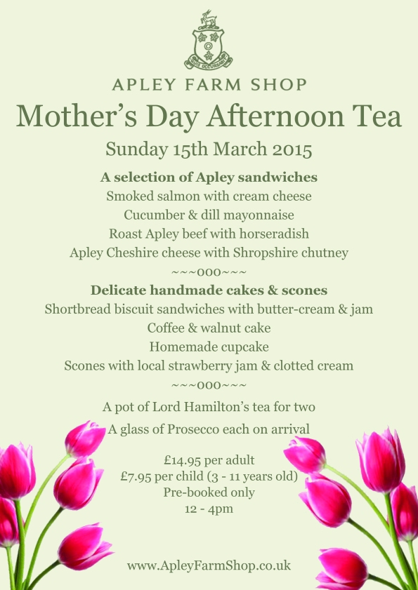 2015-03-02, Mother's Day Afternoon Tea - menu