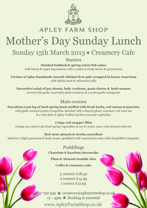 2015-03-03, Mother's Day Sunday Lunch menu