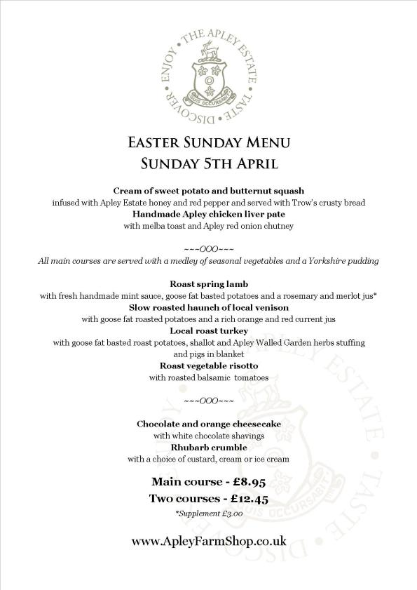 2015-04-02, Easter Sunday Lunch menu