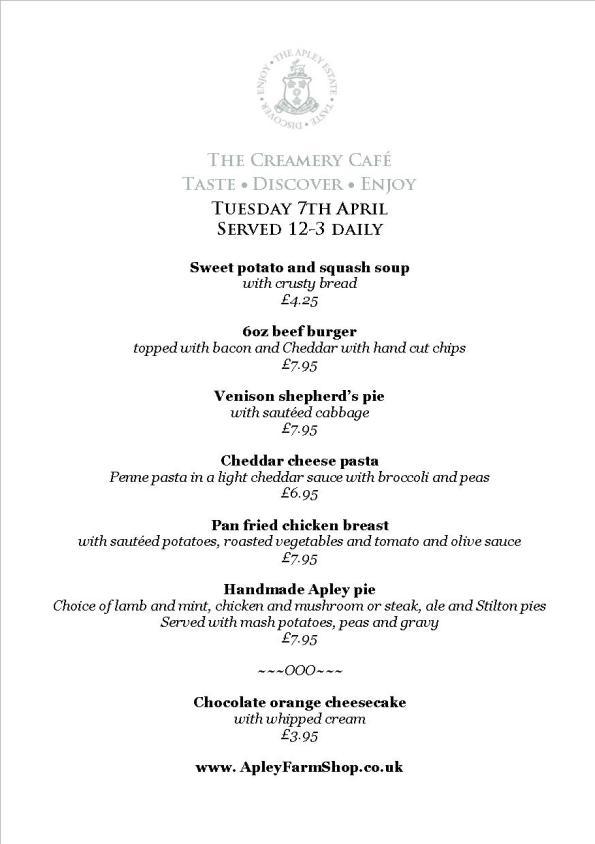 2015-04-07, Creamery Cafe Daily Specials