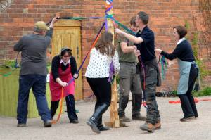 2015-04-16, Maypole dancing with members of staff (7)