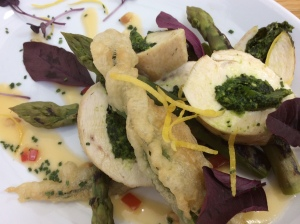 Chicken & asparagus with Apley Estate wild garlic pesto