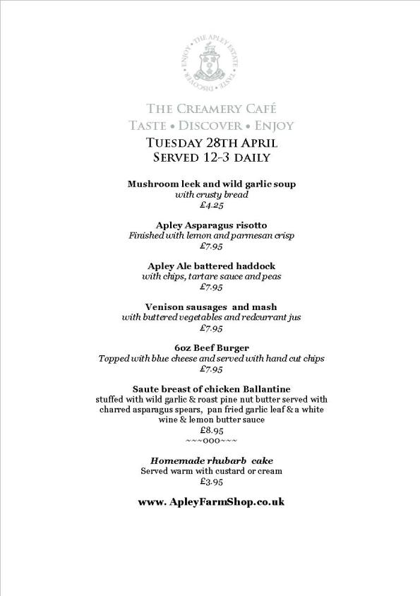 Creamery Cafe Specials menu 29 April