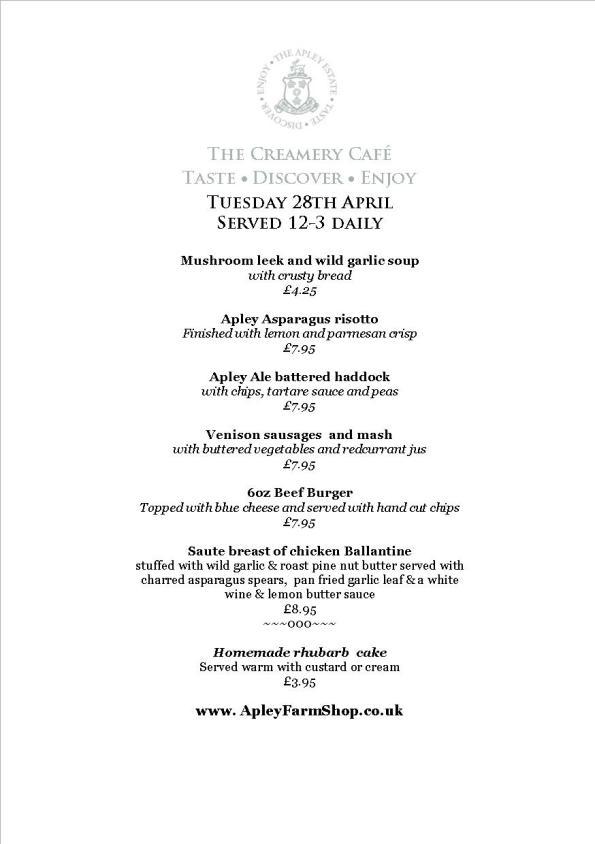 Creamery Cafe Specials menu 29 April