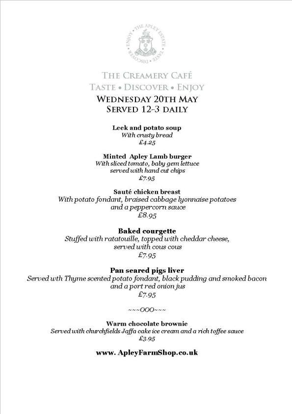 2015-05-21, Creamery daily specials menu