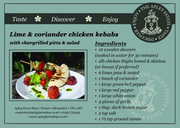 2015-06-23, Lime & coriander chicken kebabs recipe card page 1