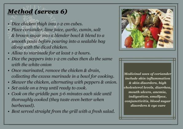 Lime & coriander chicken kebab recipe