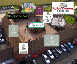 2015-07-15, Aerial view of Apley Farm Shop with logos