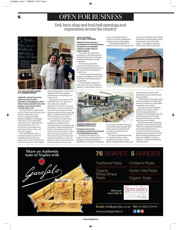 Specialty Food magazine, Sept 2015, page 6