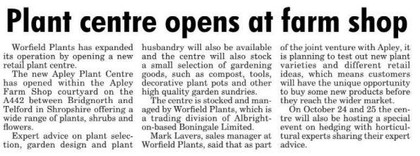 2015-10-14, Apley Plant Centre, Express & Star Wolverhampton