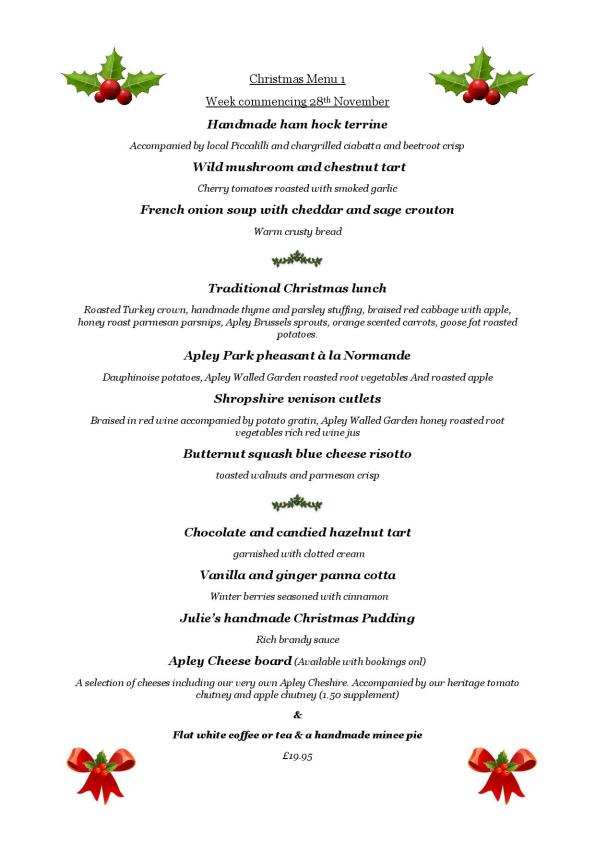 Christmas Lunch Menu 1, week commencing 28 Nov