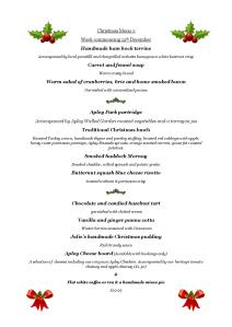 Christmas Lunch Menu 3, week commencing 12 Dec
