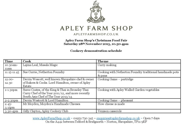 2015-11-27, AFS Christmas Food Fair Cookery demonstration schedule page 1 only JPEG