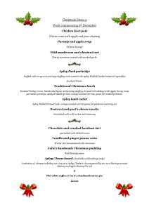 Christmas menu for week commencing Sat 5 December