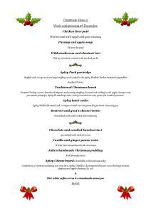 Christmas menu for week commencing Sat 5 December