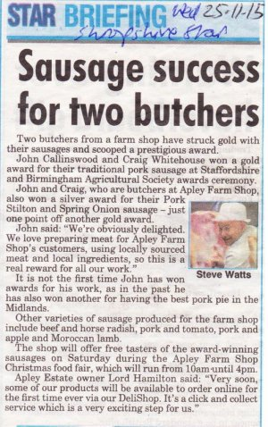 2015-11-25, Butcher sausage awards