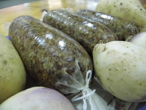 Handmade Shropshire haggis, from Apley Farm Shop's butcher