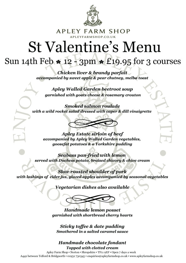 2016-01-26, Valentine's Day menu with price