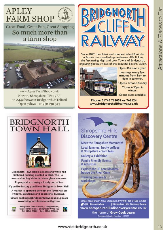 Bridgnorth brochure 2016 by  Shropshire Tourism, page 32, JPEG