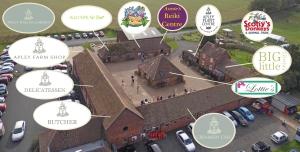 2015-10-19, Aerial photo of Apley Farm Shop with circle logos