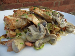 2016-02-03, chicken breast with saute savoy cabbage and smoked bacon and mushroom tarragon sauce (1)