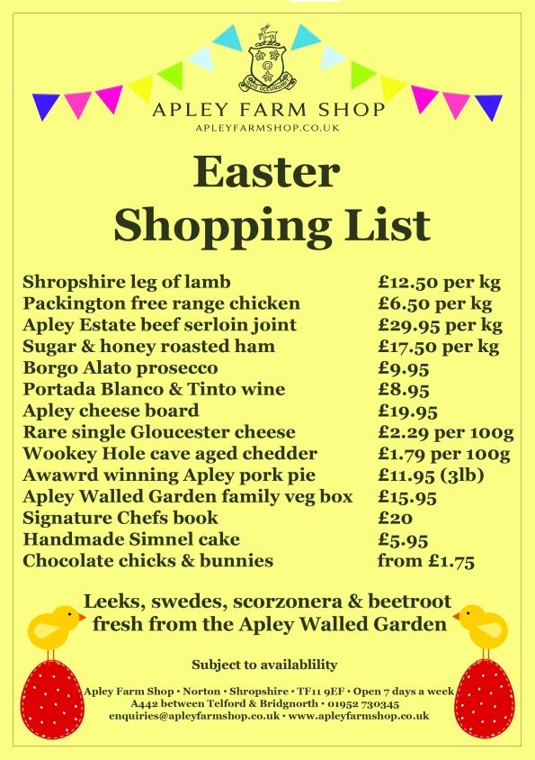 2016-03-14, Easter Shopping list