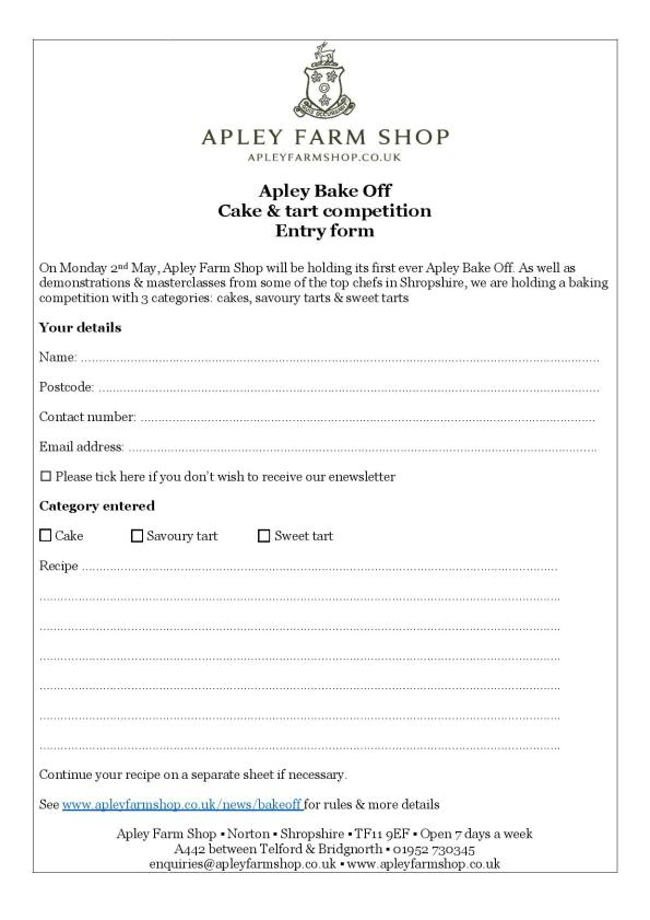 2016-03-16, Apley Bake Off cake & tart competition entry form - without rules - final