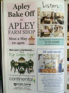 Apley Bake Off advert in the Shropshire Magazine - please let me know on 2 May if you saw it in there