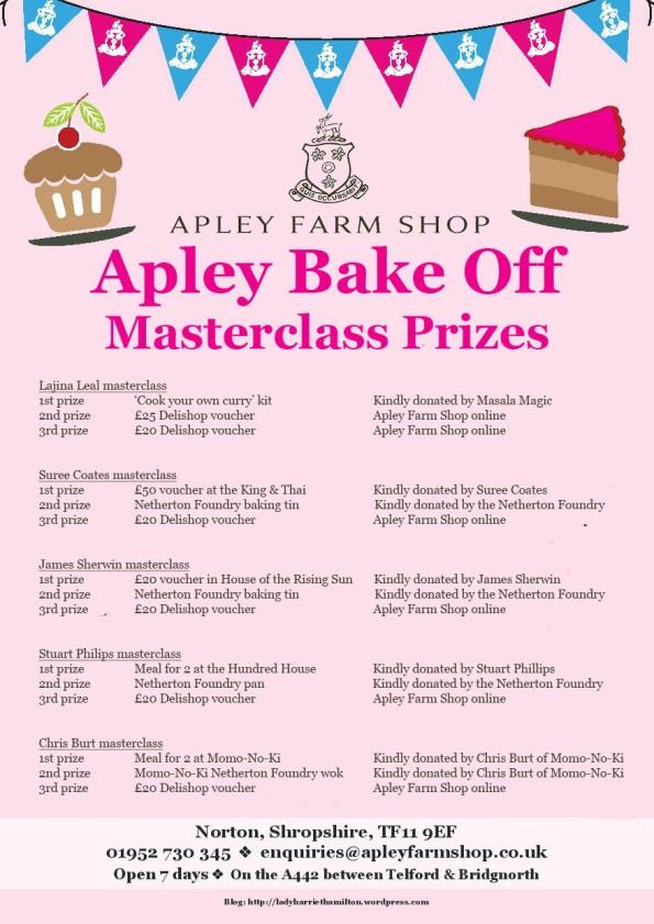 2016-04-19, Apley Bake Off masterclass prizes flier