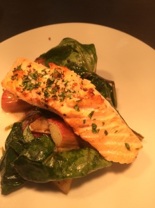 2016-04-20, Salmon, rhubarb & red spinach