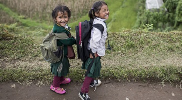 Young students walk home from school in the lower Solo Khumbu District.