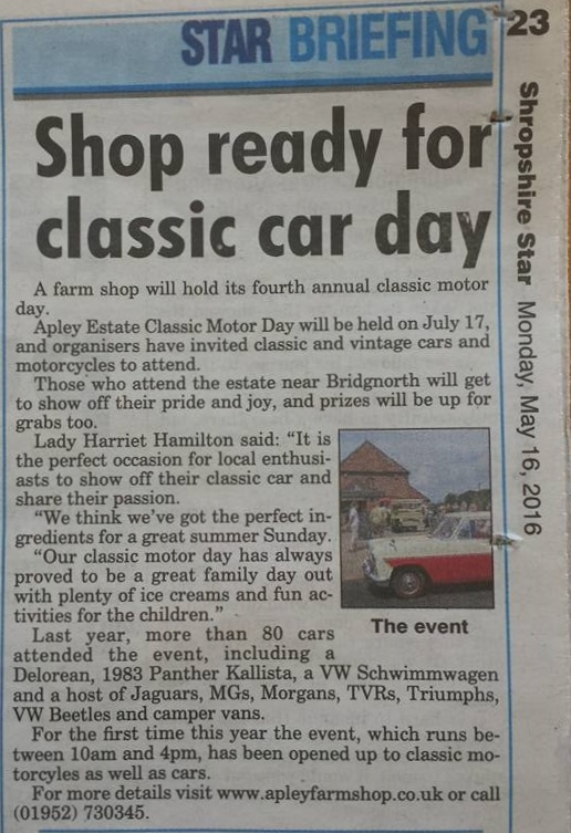 2016-05-16, Shropshire Star Shop ready for classic car day
