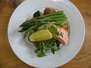 Salmon with watercress sauce, Shropshire new potatoes & asparagus—£9.95 in the Creamery Cafe